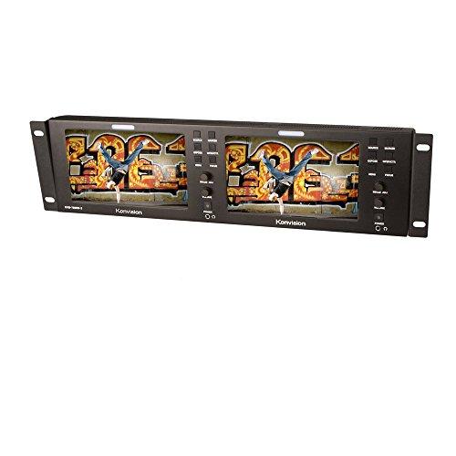 Ikan KVM-7050W-2 Konvision Dual 7-Inch Rackmount LCD Monitor (Black) (Certified - Lcd Rackmount 7 Dual