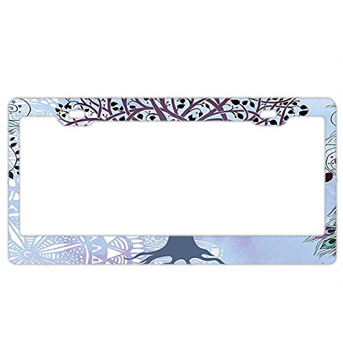 (Pulongpoq Cute Tree of Life Motif with Peacock Feathers Tribal - Aluminum License Plate, Front License Plate, Vanity Tag)