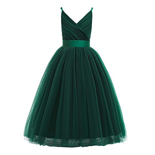 Glamulice Girls Lace Bridesmaid Dress Long A Line Wedding Pageant Dresses Tulle Spaghetti Strap Party Gown