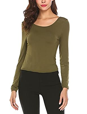 Anhoney Women Sexy Backless Knotted Long Sleeve Slim Fit Crop Tops