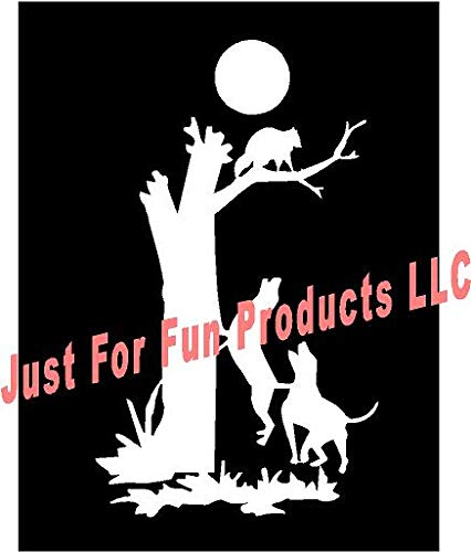 Just For Fun 6 x 3.5 Coon Dogs Treeing Hunting Raccoon Vinyl Die Cut Decal Bumper Sticker, Windows, Cars, Trucks, laptops, etc