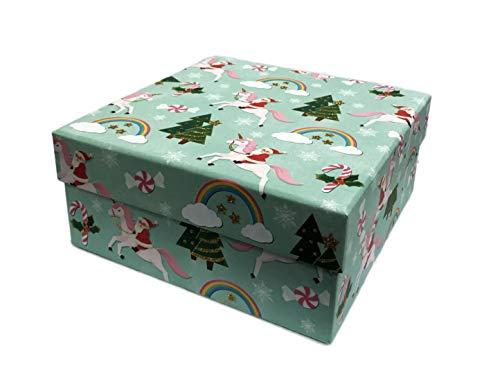 Decorative Santa Gift Box - Molly & Rex Believe in Santa Whimsical Rainbows Peppermints & Santa Riding Unicorns Decorative Holiday Storage Box Gold Glitter Accents (Medium)