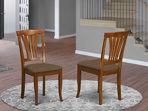 East West Furniture AVC-SBR-C Avon dining chairs Microfiber Upholstery Seat and Saddle Brow Hardwood Frame Upholstered Dining Chair Set of 2