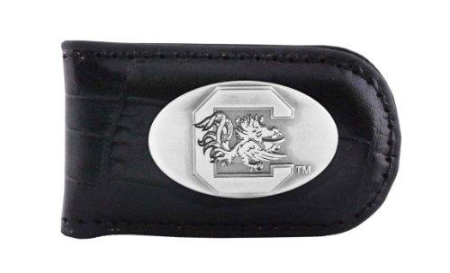 South Carolina Black Leather - NCAA South Carolina Fighting Gamecocks Black Crocodile Leather Magnet Concho Money Clip, One Size
