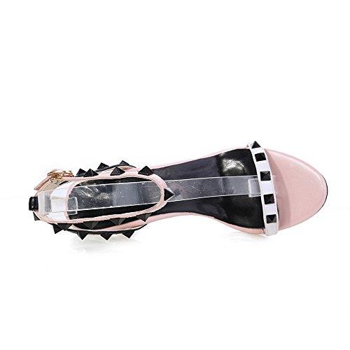 Amoonyfashion Para Mujer De Tacones Altos Material Suave Hebilla De Color Surtido Sandalias De Punta Abierta Rosa