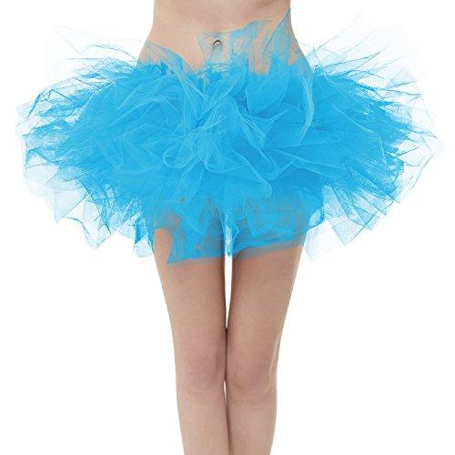 (Girstunm Women's Classic Layers Fluffy Costume Tulle Bubble Skirt Blue-Standard)