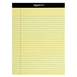 AmazonBasics Legal/Wide Ruled Pad (12 pack, 50 sheets per pad) 222 GSM, 8.5 inches X 11.75 inches – Yellow