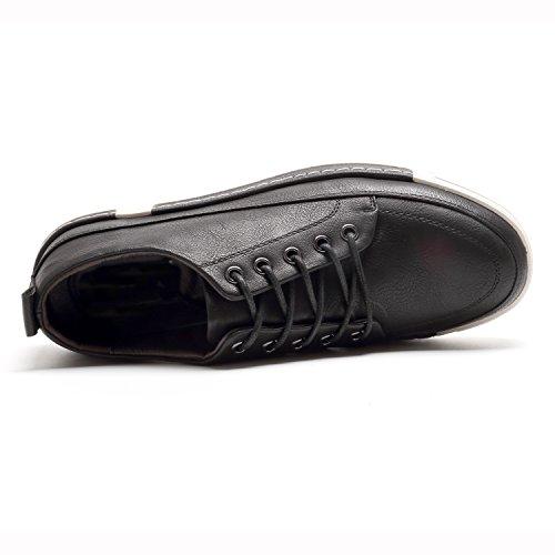 Negro Mocasines Casuales Zapatilla PU Zapatos de Hombre Deportiva Piel wq8fxZO81