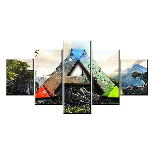 Ark Canvas - lzmlzm 5 Canvas Paintings 5 Panel ARK: Survival Evolved Logo Game Canvas Printed Painting for Living Room Wall Art Decor HD Picture Artworks Poster