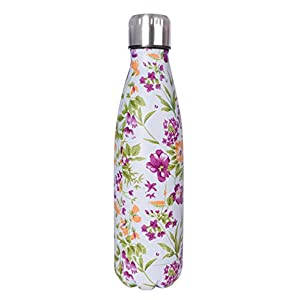 LOUDA Double Walled Vacuum Flask - Insulated Stainless Steel Water Bottle -Leak Proof Cola Shape Portable Water Bottle -No Sweat,Keeps Drink Hot & Cold 24 hours ,17 Oz (500 ml) (Pretty Flower)