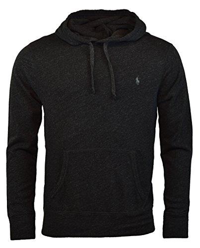Polo Ralph Lauren Men's Terry Hooded Pullover Sweatshirt - XXL - Black Heather (Fleece Mens Lauren Ralph)