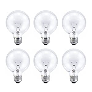 Sylvania G25 Crystal Clear Globe, 60-Watt, (E26) Medium Base, Energy Efficient Double life - Value 6 Pack
