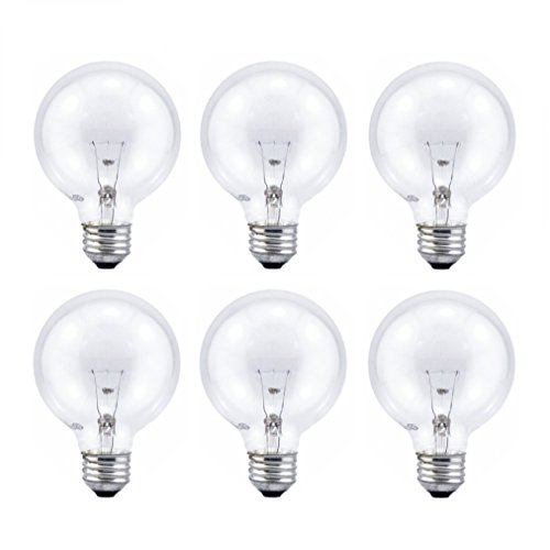 Sylvania G25 Crystal Clear Globe, 60-Watt, (E26) Medium Base, Energy Efficient Double life - Value 6 Pack (Incandescent Sylvania Globe)