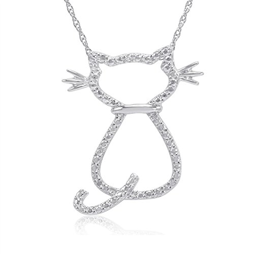 endant-Necklace in Sterling Silver (Diamond Accent Cat Pendant)