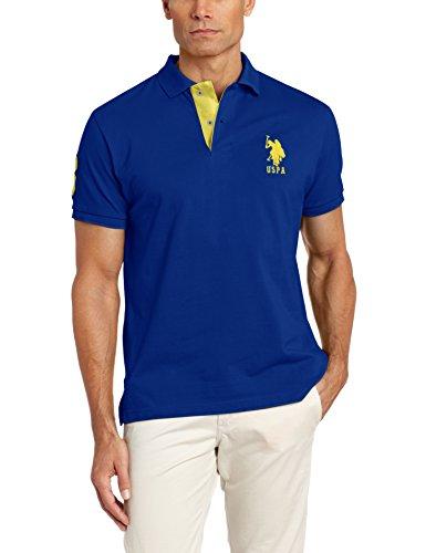 U.S. Polo Assn.. - Polo de Manga Corta para Hombre con Aplique, International Azul, Large