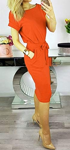 Ajpguot Abiti Da Vestito Di A Vestiti Donna Al Solido 0789 Rosso Partito Orange Elegante Mini Estivo Tubino Colore Rotondo Abito Ginocchio Moda Collo 3jq5RA4L