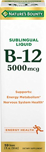 Nature's Bounty B-12 5000 mcg Sublingual Liquid Energy Health,2 oz