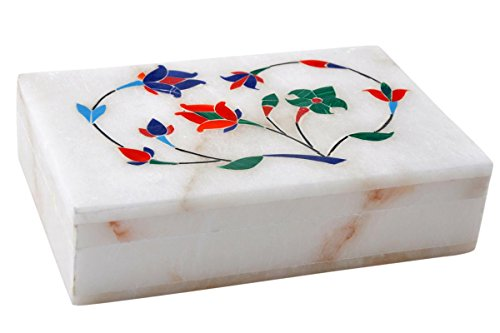 Hashcart Adorable Marble Floral Engraved Jewellery Box - Handmade Jewellery Box for Your Loved Once - for Jewellery Storage/Gifts