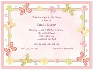 Amazoncom Butterflies Baby Shower Invitations Set of 20 Baby
