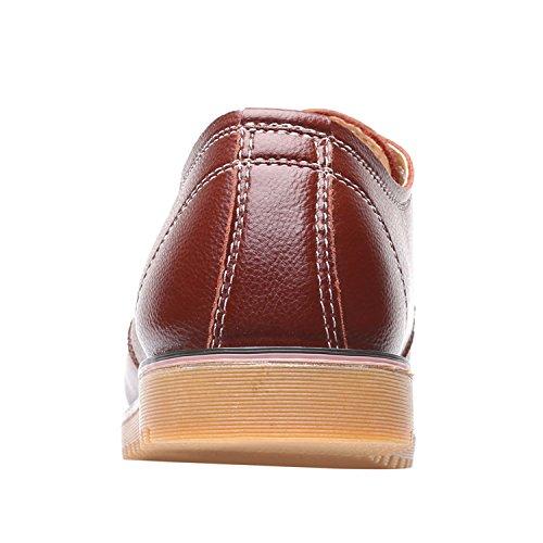 in MOOKEY marrone Stile in Shopping Scarpe Casual lavori Pelle Britannico da Uomo rOrfPqI