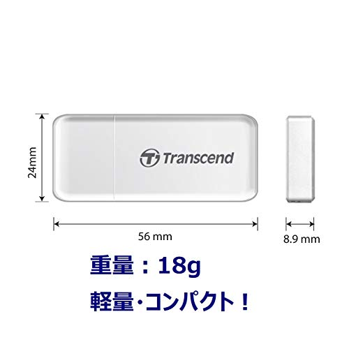 Transcend USB 3.0 SDHC / SDXC / microSDHC / SDXC Card Reader, TS-RDF5W (White)