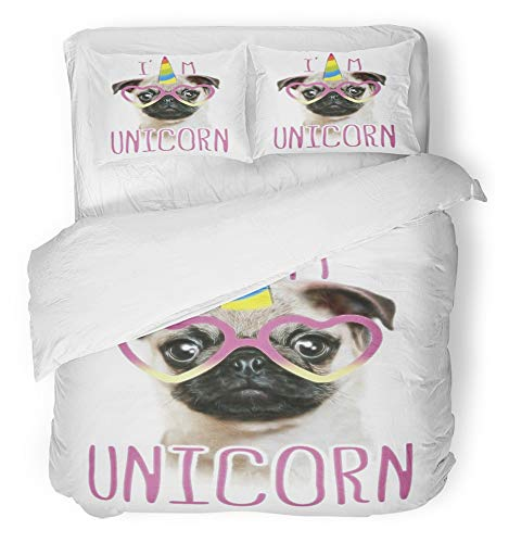 (Emvency 3 Piece Duvet Cover Set Breathable Brushed Microfiber Fabric Funny Fashionable Pug and Unicorn Head Portrait Horse Sticker Patch Badge Bedding Set with 2 Pillow Covers Full/Queen Size)