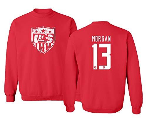 TURXIN New Soccer Shirt America USA National Team #13 Alex Morgan Unisex Youth Sweatshirt Crewneck Sweater (Red, Youth X-Large)
