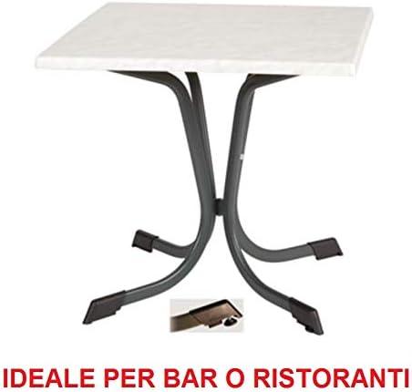 Ideale Bar Ristorante Tavolo per Esterno 70x70 con Piano in WERZALIT AntiGraffio Fantasia Marmo di Carrara E Struttura in Ferro ZINCATO Verniciato Antracite