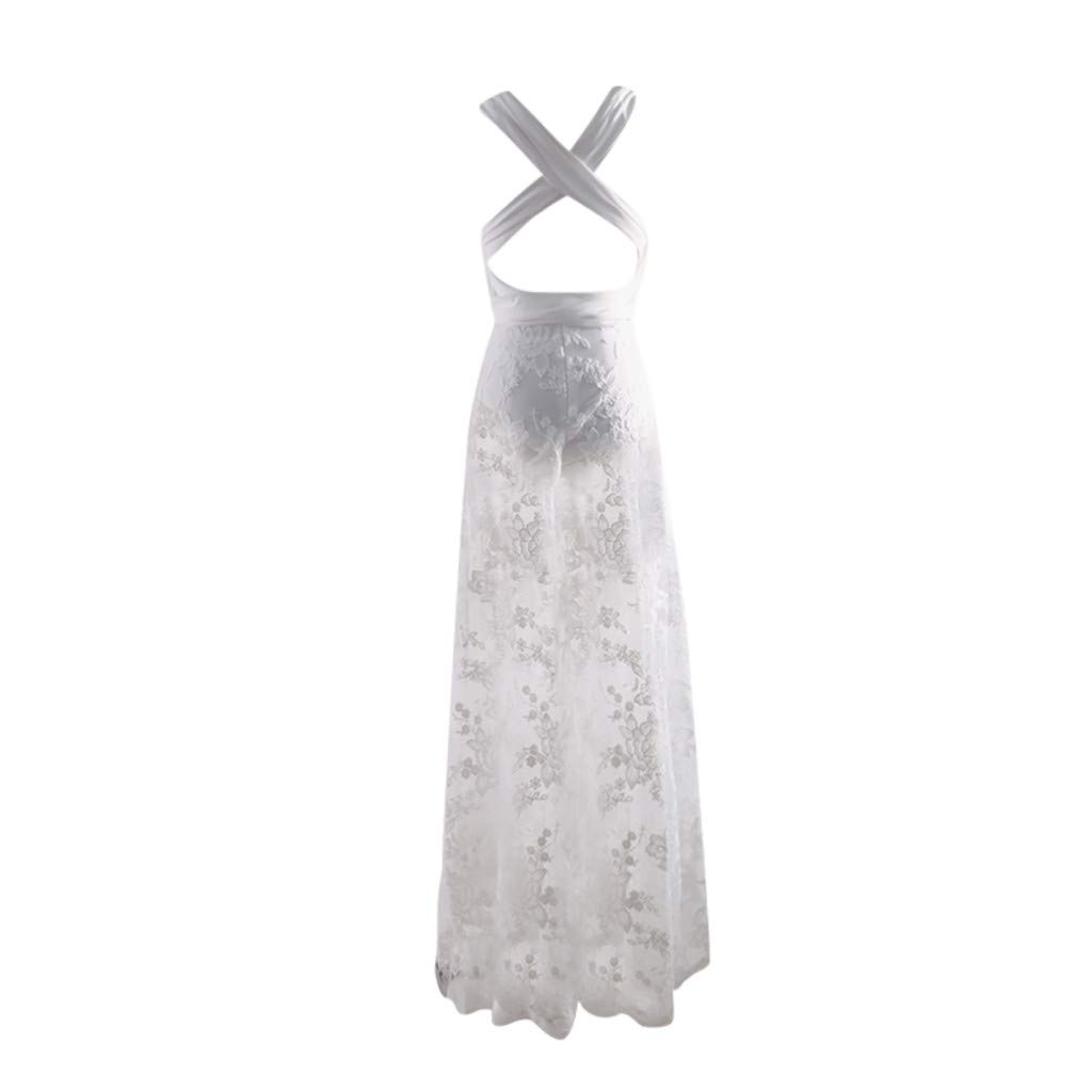 Womens Elegant Hollow Lace Sling Cross White Maxi Dress Wedding Bridesmaid Evening Dresses for Ladies UK Size 8-14