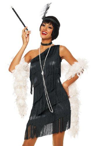 Costume Culture by Franco LLC Sexy 20s Flapper Black Fringe Dress Halloween Costume Medium