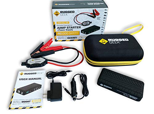 (Rugged Geek RG1000 Safety GEN2 1000A Portable Car Jump Starter, Battery Booster Pack and Power Supply with LCD Display, INTELLIBOOST Smart Cables, LED Flashlight, USB & Laptop Charging. NEW for 2019)