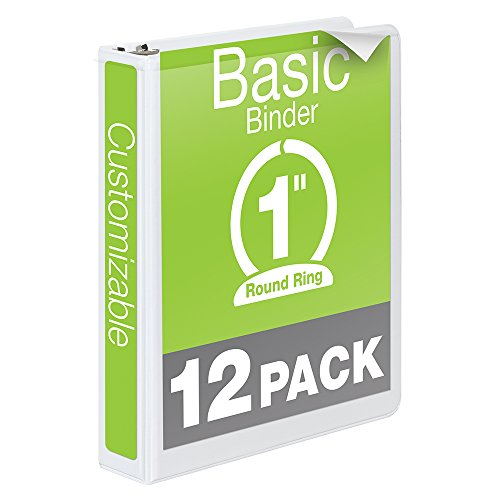 Wilson Jones 1 Inch 3 Ring Binder, Basic Round Ring View Binder, White, 12 Pack (W362-14WPK) ()
