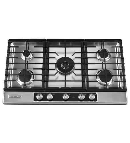 "KitchenAid 36"" 5-Burner Gas Cooktop Stainless Steel Architec"