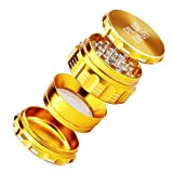 "Pilot Diary Premium Aluminum 4 Piece Herb Grinder with Pollen Catcher New Gear Design Large 2.5"" Gold"