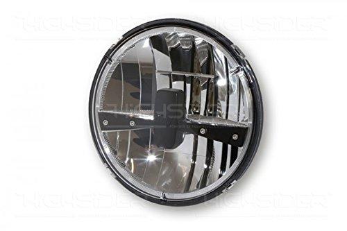 Abblen HIGHSIDER LED Hauptscheinwerfereinsatz TYP 3 rund mit verchromtem Reflektor und schwarzer Blende Fern- 7 Zoll