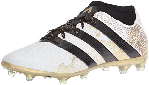 adidas Performance Men's Ace 16.2 Primemesh Fg/Ag Soccer Shoe, White/Black/Metallic Gold, 8 M US