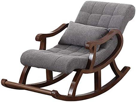 HY-WWK Chaise Berçante En Bois Nordique, Inclinable Dans La Chaise Âgée Canapé Adulte Loisirs Balcon Easy Chair, Bleu