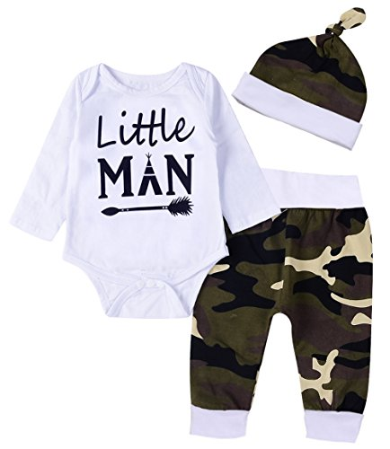 Younger star 3PCS Newborn Baby Boys Cute Letter Print Romper Camouflage Pants Hat Outfits Set (0-6 Months, White)