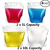 Pack4Life 5/10 Liter Water Storage Container 4 Count Collapsible Water Bags, BPA Free Plastic Water Carrier for Sport Camping Riding Hiking Mountaineer, Food Grade (2 x 5 L+ 2 x 10 L)