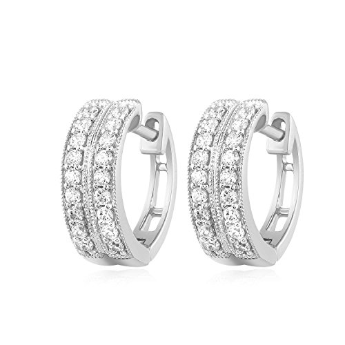 Carats For You 14k White Gold 0.42ct Genuine Real Brilliant Round Cut Natural Diamond 2 Row Pave Huggie Hoop Earrings for -