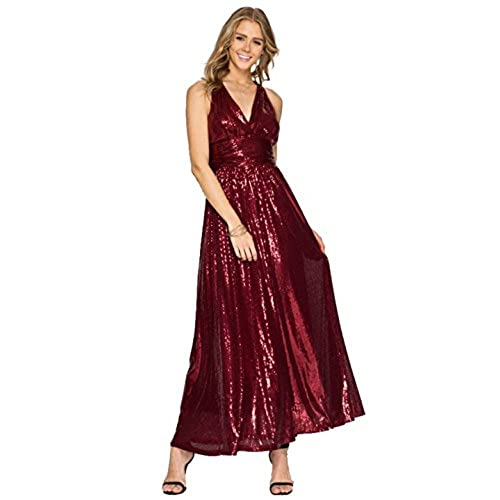 Absolute Rosy Womens Low Cut Sequin Maxi Evening Dress with Crisscross Open Back Wine L