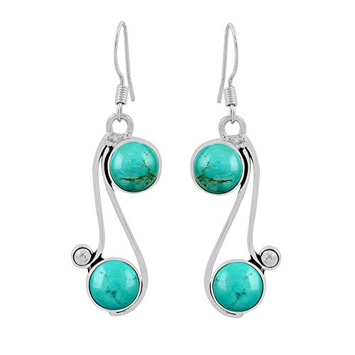 - Natural Round Shape Turquoise Dangle Earrings 925 Silver Overlay Handmade Vintage Style Jewelry For Women Girls