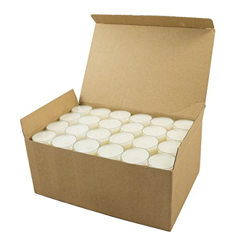 - Stonebriar Unscented Long Burning Clear Cup Tea Light Candles, 6 to 7 Hour Extended Burn Time, White, Bulk 96 Pack