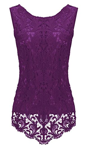 Sumtory Women's Lace Blouse Sleeveless Embroidery Tops Vest Shirt Blouse – Small, Purple