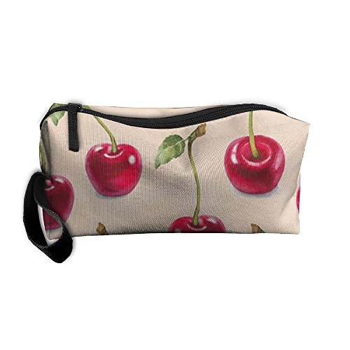 Cherry Pattern Cosmetic Bags Brush Pouch Makeup Bag Zipper Wallet Hangbag Pen Organizer Carry Case Wristlet - Times Hill Cherry Mall