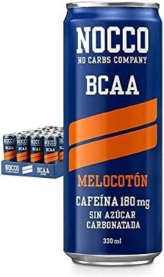 NOCCO BCAA Melocotón 24 x 330ml Bebida energética funcional sin azúcar No Carbs Company Enriquecida con vitaminas Con cafeína Bebidas funcionales de sabores para deportistas: Amazon.es: Salud y cuidado personal