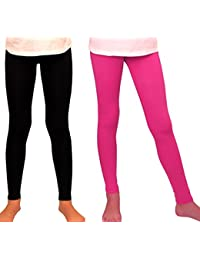 1ca71c0f29892 Girl Leggings High Waist 2 Pairs Set Of Solid Color Pink & Black Non-See