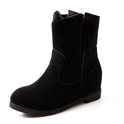WeiPoot Heels Imitated On Pull Low Boots Kitten Suede Black Solid Women's Top ggqrAOB
