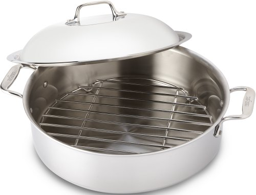 All-Clad 4515 Stainless Steel 3-Ply Bonded Dishwasher Safe French Braiser with Rack Cookware, 6-Quart, Silver by All-Clad