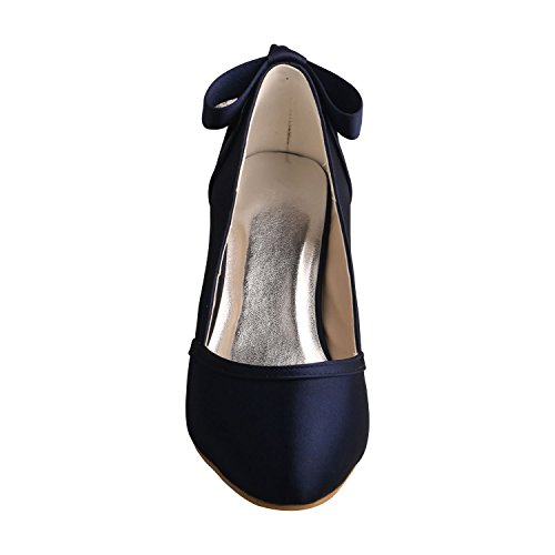 Shoes Heel Women's Bowtie for Toe Closed Mid Wedding Bride Navy Wedopus MW460 Satin H0Bvqv